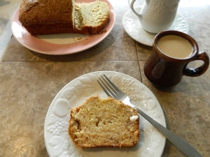 Fresh baked banana bread and a cup of coffee