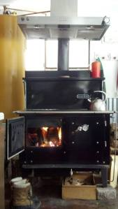 Kitchen Queen Wood Cook Stove in a blaze of glory.