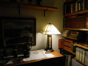 Our lamp using an LED 40 watt equivalent light bulb.  This bulb uses .3 amps, where a regular incandescent uses 10 times that.