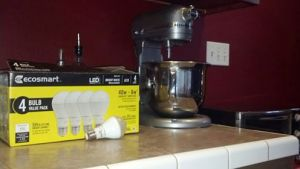 We use LED bulbs throughout our home to save power and money.