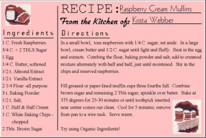 Recipe for Raspberry Cream Muffins