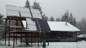 During the winter solar production is low and the panels need to be cleared to be able to work.