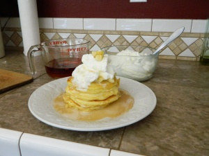 Oh, so good... I like to stack my banana pancakes 4 high, top them with whipped cream, sliced bananas, and the create a