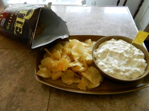 Grandma's Amazing Clam Dip served with Kettle Potato Chips.
