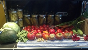 No choice here... Organically grown heirloom produce from our own garden being canned without chemical preservatives.