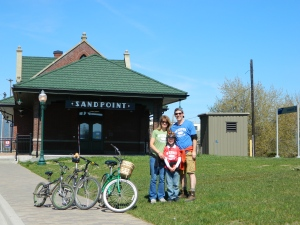 A beautiful ay for a bike ride... We visited the newly restored train station in Sandpoint. It is celebrating its 100th anniversary this year.