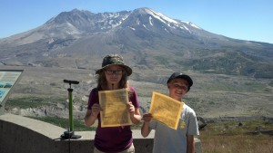 Official Junior Rangers... Our son and his cousin earn their certificates and badges at Mt. St. Helen's National Park and become junior rangers.