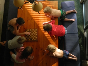 Game on!... A bird's eye view of the cousins playing an intense game of chess.