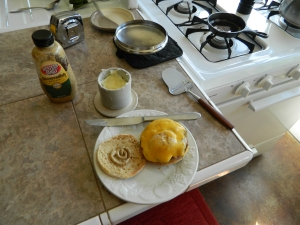 Finishing touches.. The English breakfast muffin is shaping up.