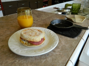 Order up... The English breakfast muffin is ready to serve.