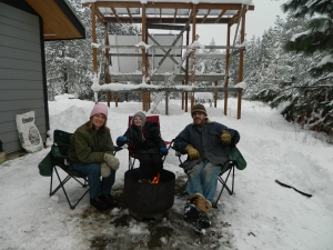 Snow in the family room... The outdoor family room isn't just for summer. With a snow shovel and snow blower 2ft. of snow can be easily cleared and a roaring fire can chase the chill away.