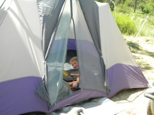 Setting up camp...in our backyard. our son enjoyed playing in his tent this summer and he was very brave to spend several nights in it.