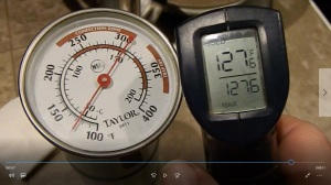 The heat is on... The water registered 127 degrees Fahrenheit. The T and P valve should open at 150 degrees F and release the overly hot water. The CDC would like hot water heaters to be at 140 degrees F.