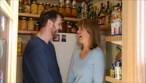 Having a laugh... We love our refrigerator and enjoy a good laugh after filming.